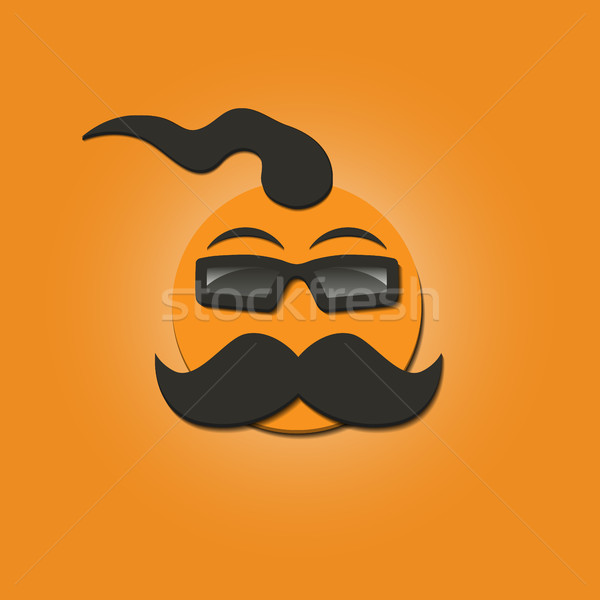 Funny face with a mustache, vector illustration. Stock photo © kup1984