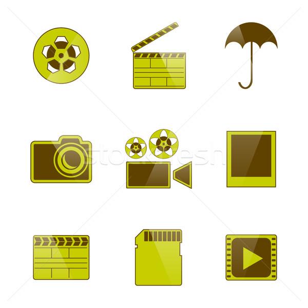 アイコン ビデオ 写真 セット 孤立した 白 ストックフォト © kup1984