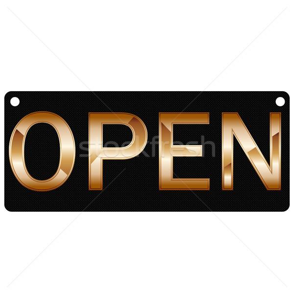 Placa abierto placas sin costura negro Foto stock © kup1984