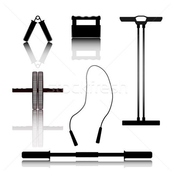 Equipamentos esportivos conjunto silhuetas espelho imagem ginásio Foto stock © kup1984