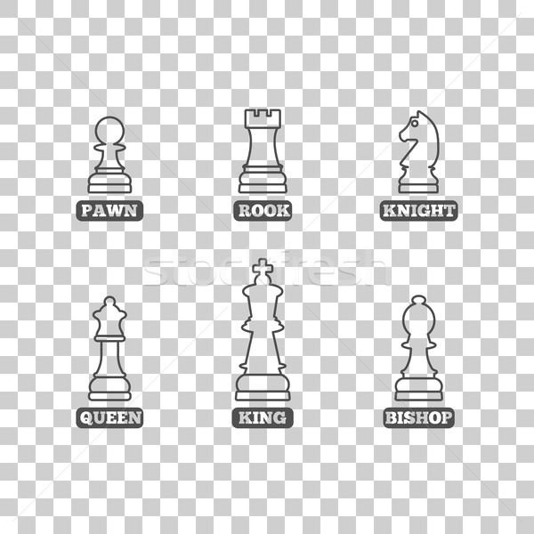 Chess figures, vector illustration. Stock photo © kup1984