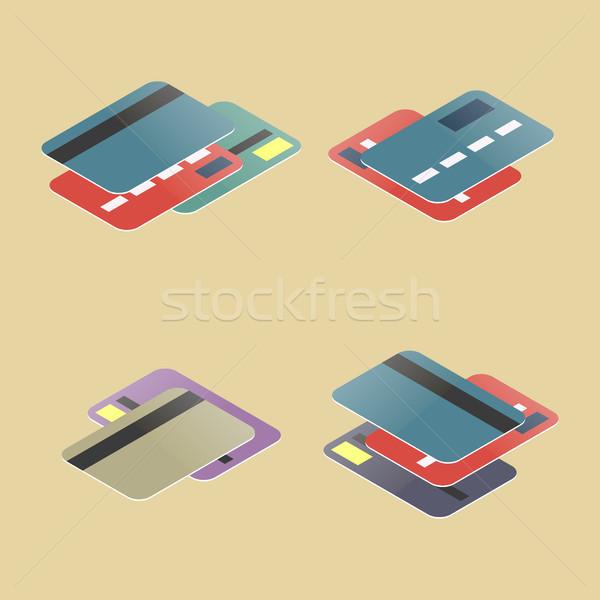 セット プラスチック カード 異なる 金融 アイコン ストックフォト © kup1984