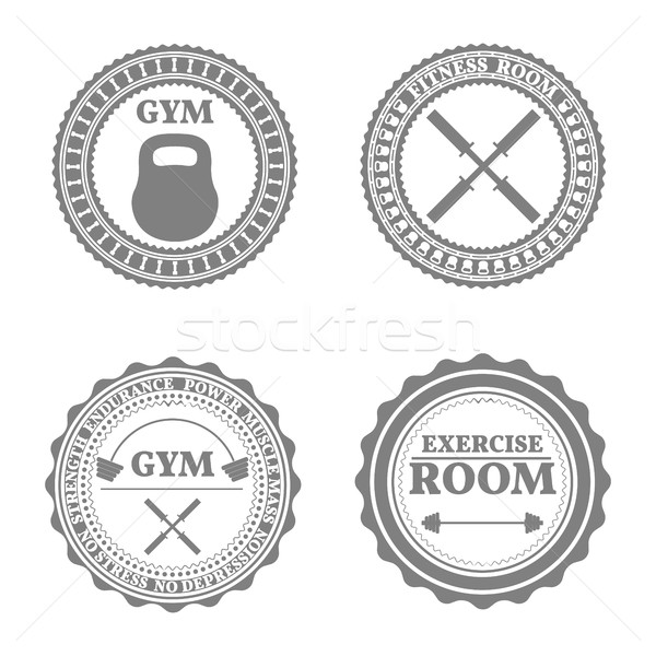 Set of sports emblems in retro style, vector illustration Stock photo © kup1984
