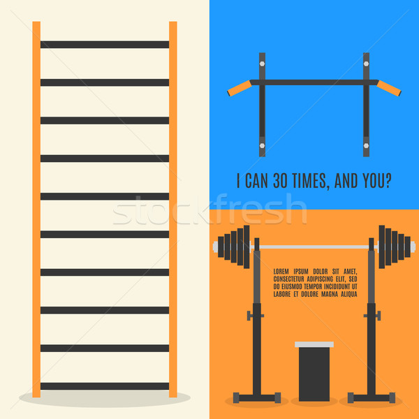 Flat design elements for gym and fitness, vector illustration. Stock photo © kup1984