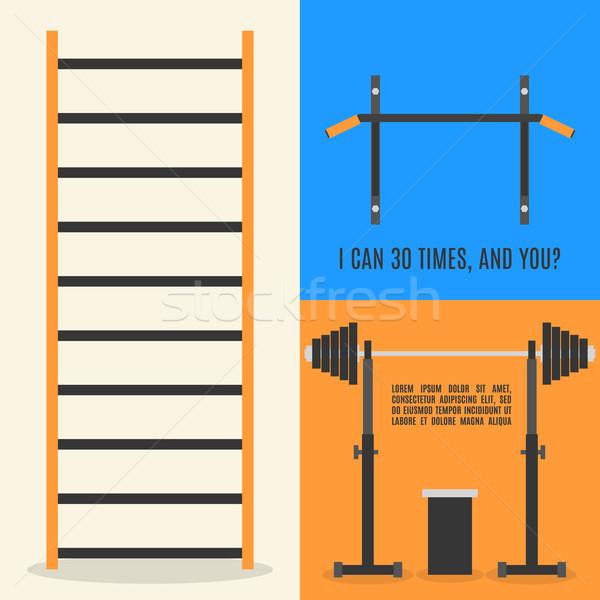Projeto elementos ginásio fitness conjunto equipamentos esportivos Foto stock © kup1984