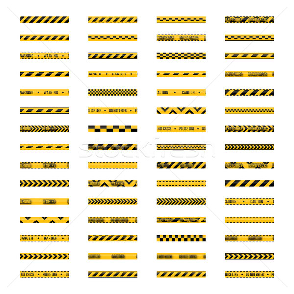 Conjunto sem costura amarelo preto aviso texto Foto stock © kup1984