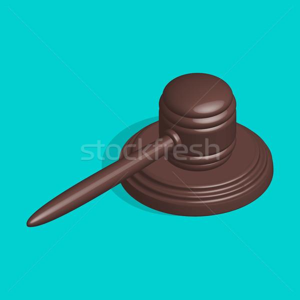 Bíró kalapács áll 3D kalapács ikon Stock fotó © kup1984