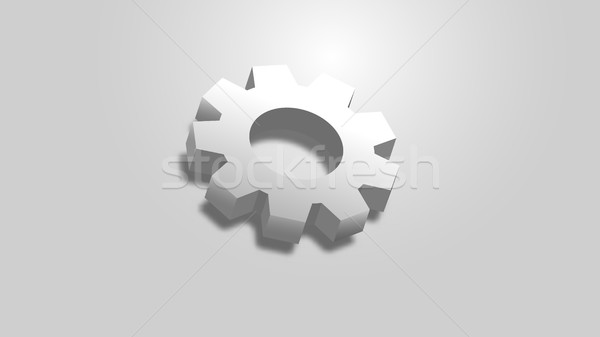 Abstract witte versnelling symbool 3D effect Stockfoto © kup1984