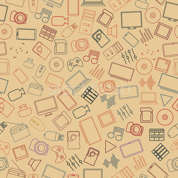 Seamless background from a set of digital devices, vector illustration. Stock photo © kup1984