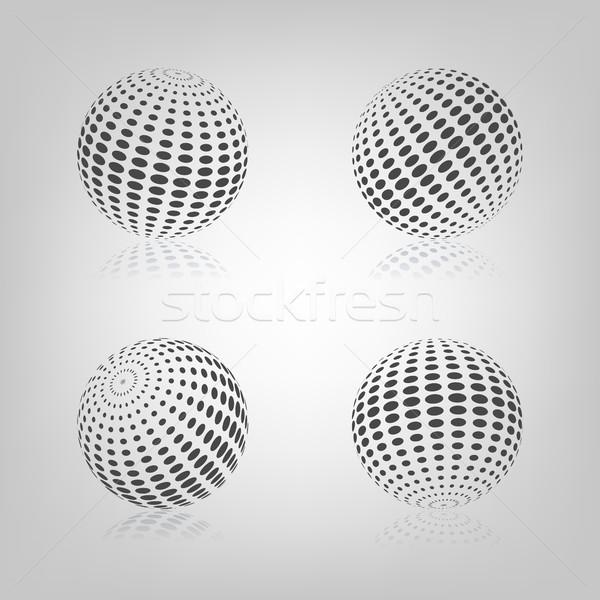 ストックフォト: 球 · ハーフトーン · グレー · ミラー · 反射 · 孤立した