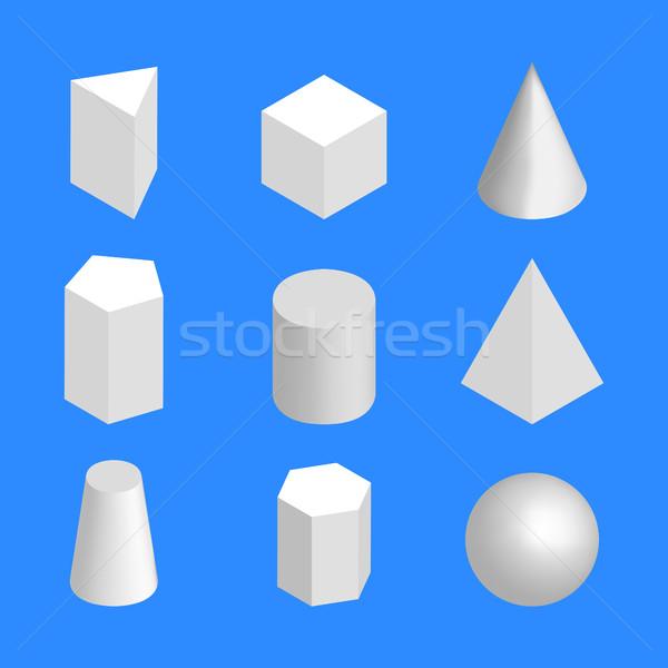 単純な 幾何学的な アイソメトリック 孤立した 青 ストックフォト © kup1984