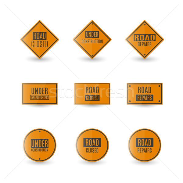 Inşaat yol işareti ayarlamak dikdörtgen biçiminde yol işaretleri yalıtılmış Stok fotoğraf © kup1984