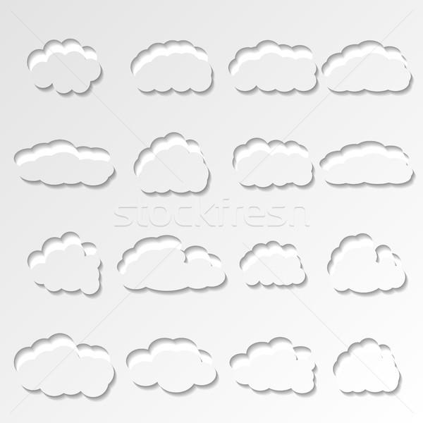 набор облака шестнадцать белый различный Сток-фото © kup1984