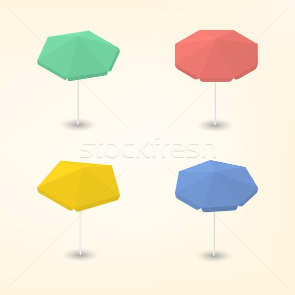 Luminoso ombrellone 3D set colorato spiaggia Foto d'archivio © kup1984