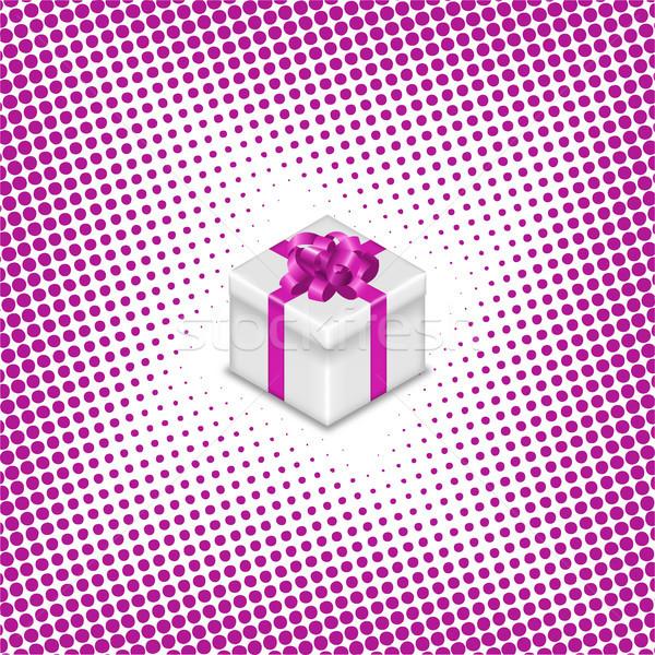 Geschenkbox Halbton Band Bogen glücklich Design Stock foto © kup1984