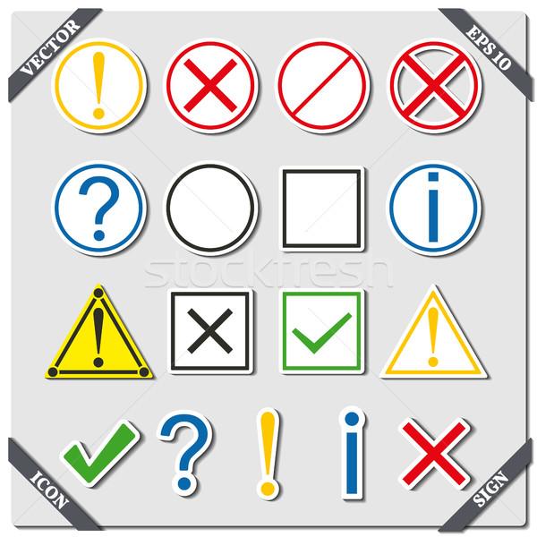 Foto stock: Conjunto · ícones · sinais · símbolos · ajudar · informação