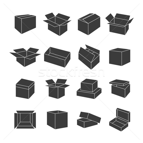 Set of icons of boxes, vector illustration. Stock photo © kup1984