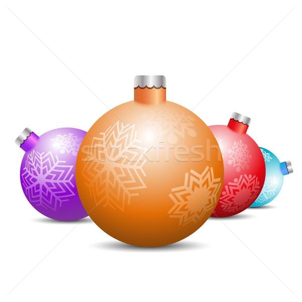Spielzeug Dekorationen Weihnachtsbaum weiß Set Design Stock foto © kup1984