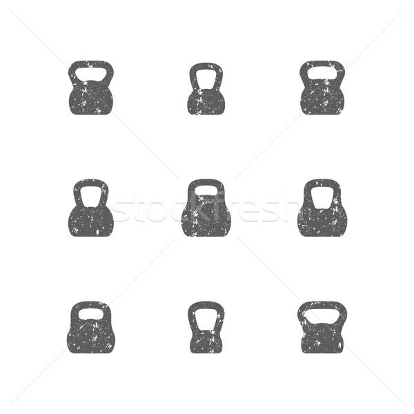 Set of grunge kettle bells, vector illustration. Stock photo © kup1984