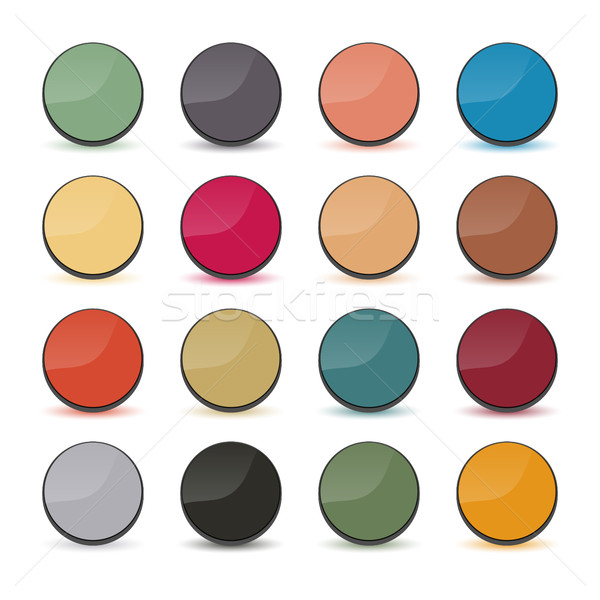 Set volumetric buttons, vector. Stock photo © kup1984
