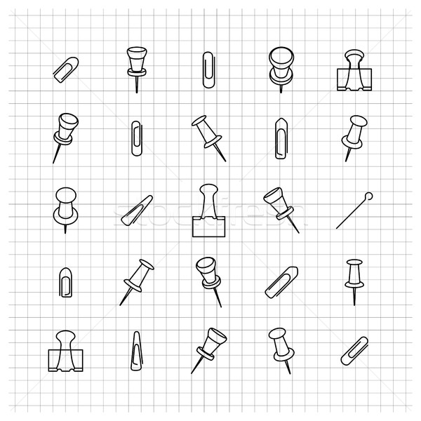 Icons clip of thin lines, vector illustration. Stock photo © kup1984