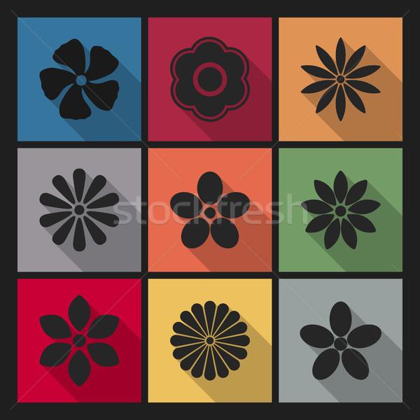 иконки цветы долго диагональ тень первый Сток-фото © kup1984