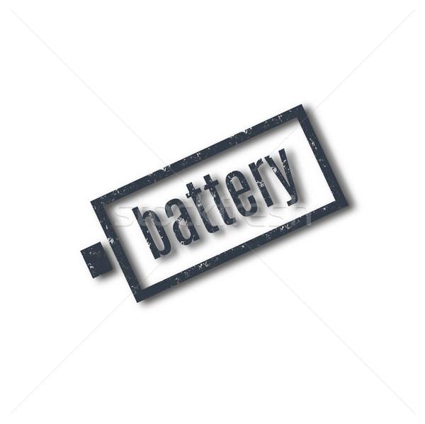 グランジ スタンプ 文字 バッテリー 孤立した 白 ストックフォト © kup1984