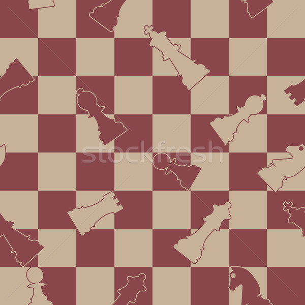 Stock photo: Seamless background of chess, vector illustration.