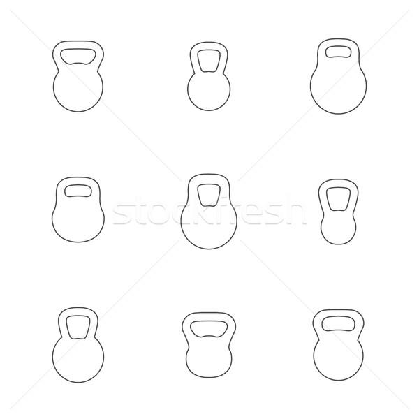 Icons kettlebells, vector illustration. Stock photo © kup1984