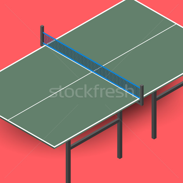 Ping pong table is an isometric, vector illustration. Stock photo © kup1984