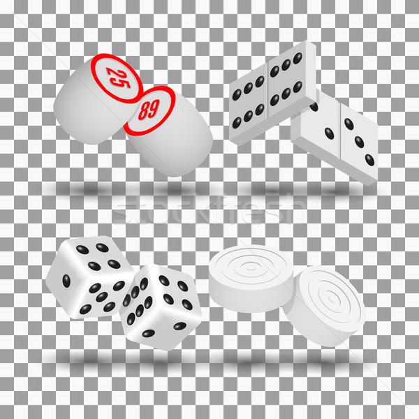 Realista jogo ícones 3D jogar dados Foto stock © kup1984