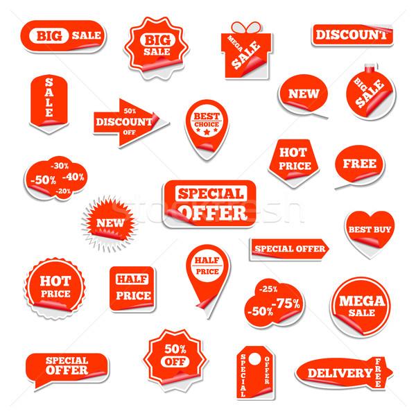 Set of bright labels, vector illustration. Stock photo © kup1984