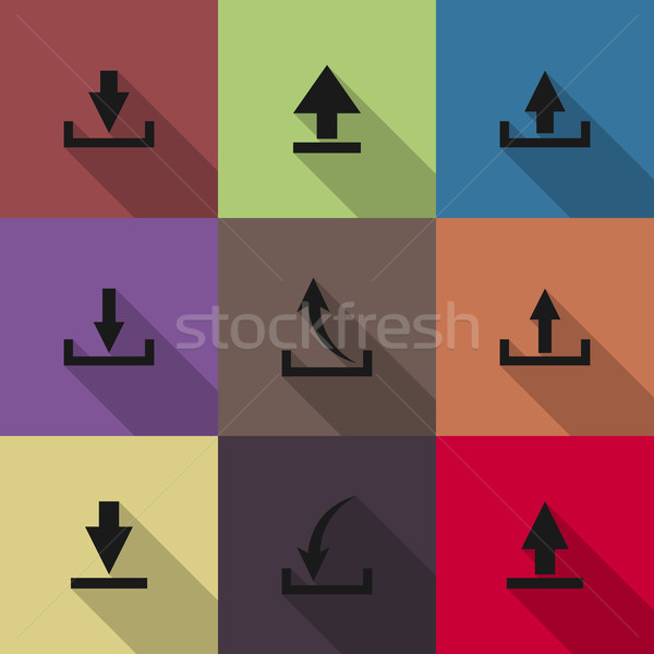 Icônes téléchargement longtemps diagonal ombre ordinateur Photo stock © kup1984