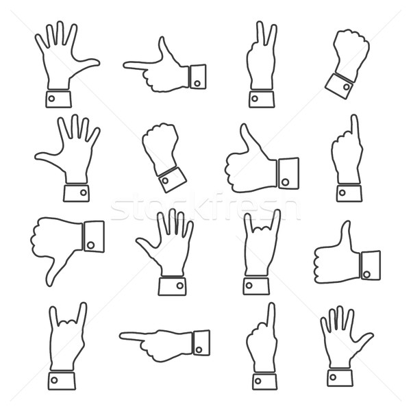 Icons hands, vector illustration. Stock photo © kup1984