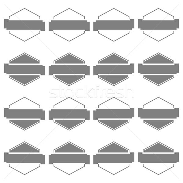 Set emblema sedici anni grigio nastri isolato Foto d'archivio © kup1984