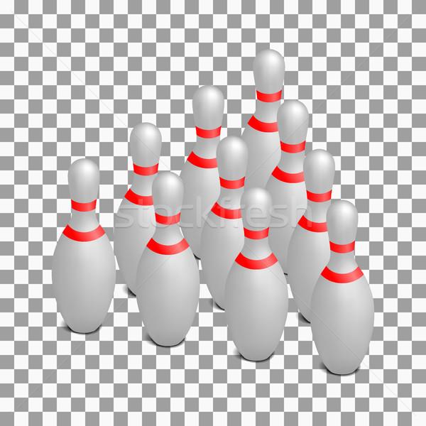 Skittles for bowling isometric, vector illustration. Stock photo © kup1984