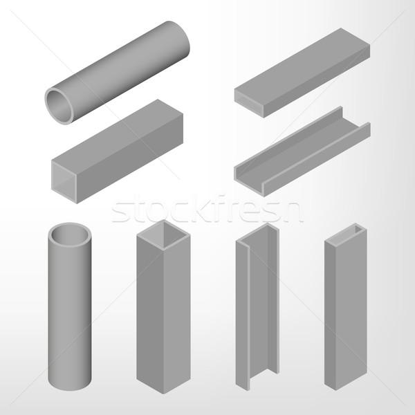 Staal balk isometrische geïsoleerd witte ontwerp Stockfoto © kup1984