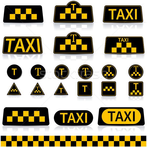 набор знак такси зеркало отражение Сток-фото © kup1984