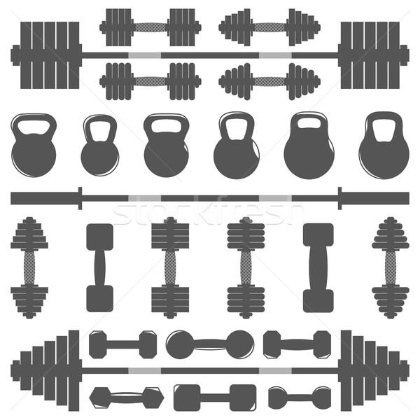Сток-фото: набор · оборудование · спортзал · вектора · тело
