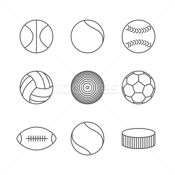 иконки серый различный спортивных тонкий Сток-фото © kup1984