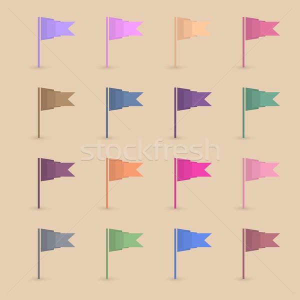 Set paper flags, vector illustration. Stock photo © kup1984