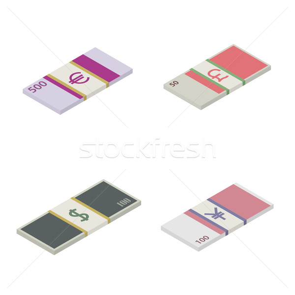 Set the stack of paper money world currencies, vector illustration. Stock photo © kup1984