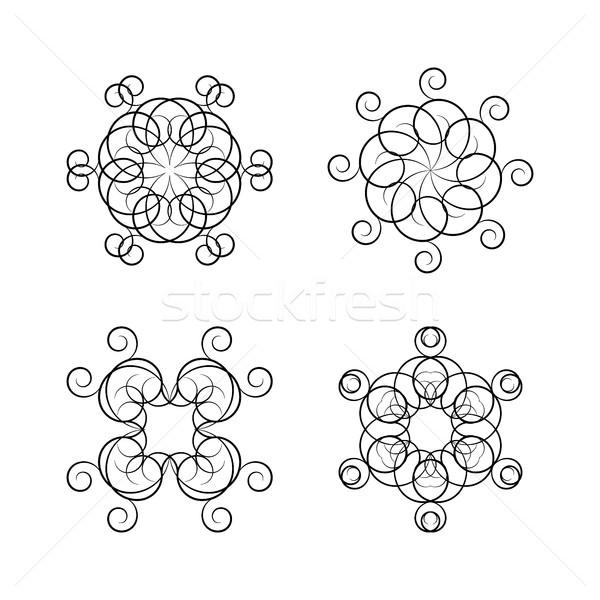 Set Rundschreiben Ornamente vier isoliert weiß Stock foto © kup1984