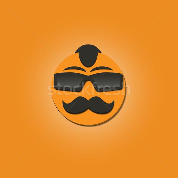 Vicces arc bajusz napszemüveg citromsárga vektor illusztrációk Stock fotó © kup1984