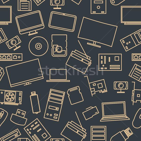 Conjunto computador ícones fino Foto stock © kup1984