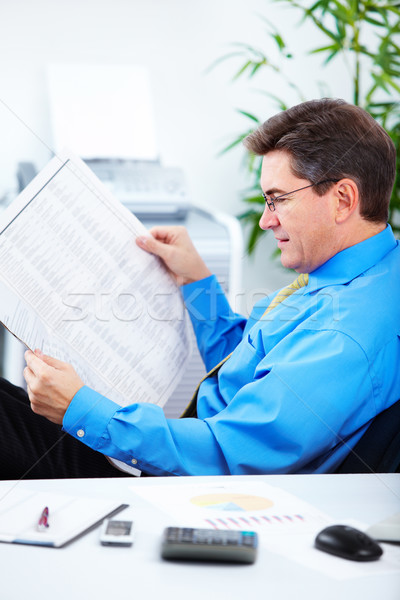 ストックフォト: 会計士 · ビジネスマン · 執行 · 読む · 新聞 · 現代