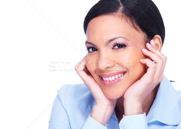 ストックフォト: 幸せ · 笑顔の女性 · ヒスパニック · ビジネス女性 · 笑みを浮かべて · 孤立した