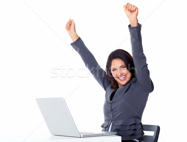 Happy business woman with laptop computer. Stock photo © Kurhan