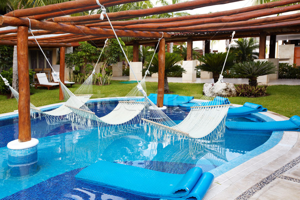 Swimming pool and hammock. Stock photo © Kurhan