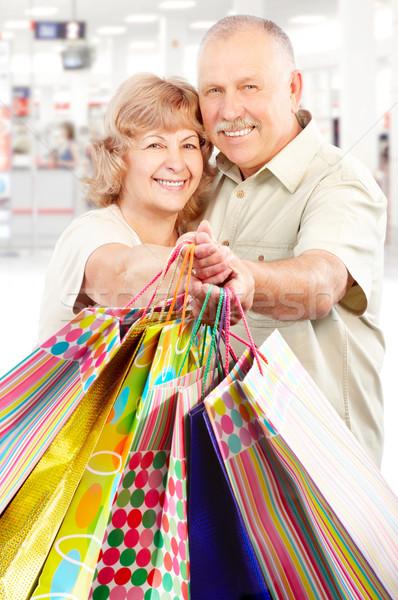 Foto stock: Compras · ancianos · personas · feliz · centro · mujer